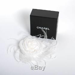 CHANEL Silk Ostrich White Feather Camellia Brooch Fashion Pin with Box