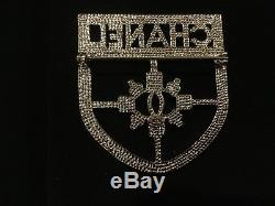 CHANEL Silver Crystal Shield Badge Crest CC Brooch Pin BNIB Sold Out pre-owned