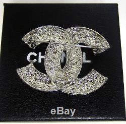 CHANEL Vintage CC Logo Gold Tone & Crystal brooch pin