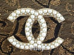 Chanel 2017 Fall Top Gold Pearl CC Large Dress Pin Brooch New