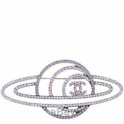 Chanel 2017 Top Fall Silver CC Saturn Galactic Space Crystal Pin Brooch New