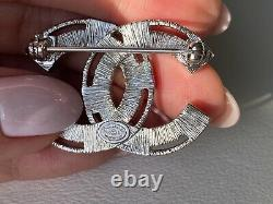 Chanel 2017s Silver CC Logo White And Pink Crystals Small Brooch Pin