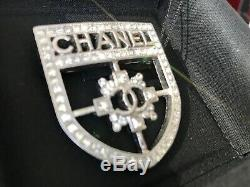 Chanel 2018 Large Classic Crest Shield Armor Badge Brooch Silver Crystals Pin