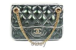 Chanel 2018 New Bag Brooch Pin CC Green Quilted Purse with Gold Chain