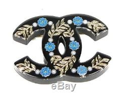 Chanel 2018 New Brooch CC Pin Pearl Black Blue Floral Resin Greece Greek Flower