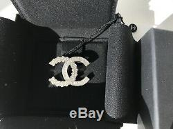 Chanel 2018 Small Classic Baguette Crystals Brooch Silver CC Logo Pin