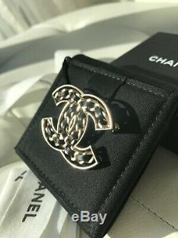 Chanel 2019p CC Logo Gold Metal Black Leather Chain Brooch Classic Collection
