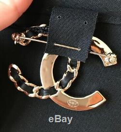 Chanel 2019s CC Logo Golden Crystals Black Chain Brooch Classic Collection