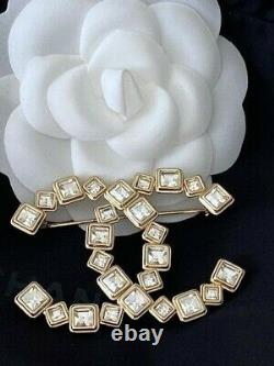 Chanel 2020 Large Sparkly CC Logo Crystal Brooch Pin