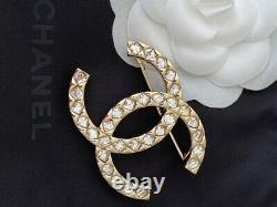 Chanel 2021 Large Sparkly CC Logo Crystal Brooch Pin