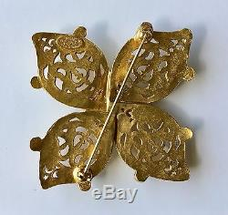 Chanel 95A Gold Floral Corsage Interlocking'CC' Logo Large Pin Brooch Accessory