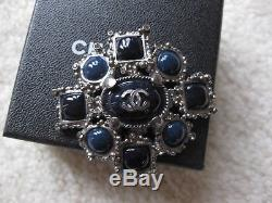 Chanel AUTH NIB Substantial Black Navy Jewel Pewter Silver Tone Pin Brooch 12A