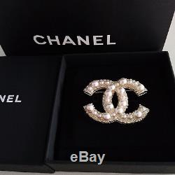 Chanel Anniversary Large Cc White Pearl Brooch/Pin Gold With Pearls and Crystals