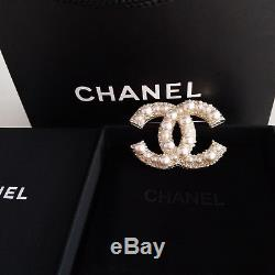 Chanel Anniversary Large Cc White Pearl Brooch With Pearls and Crystals Gold Pin