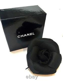 Chanel Black Satin Camelia Brooch Stamped Logo W Box Gold Pin Perfect