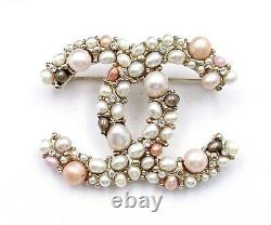 Chanel Brand New Gold CC Pink Tone Freshwater Pearl Brooch