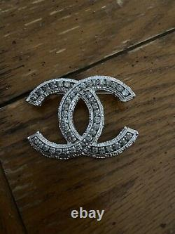 Chanel Brooch Pin Classic Crystals Rhinestones Large CC Logo Silver Tone
