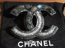 Chanel Brooch with Stone Detail, Gunmetal Grey, 100% Authentic, Rare