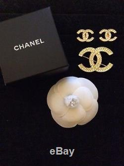Chanel CC Rhinestone Crystal Brooch Pin and Matcing Earrins Set