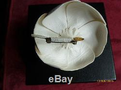 Chanel Camelia Leather Brooch Corsage in Box