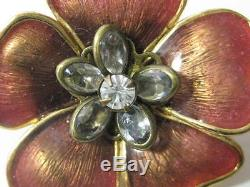 Chanel Camellia Pin CC logo gold brown enamel crystal brooch designer signed old