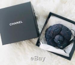Chanel Camellia Tweed Flower Pin Brooch CC Logo Navy Red