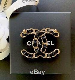 Chanel Classic Brooch Gold CC Logo Black Lambskin Leather Chain Pin