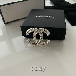 Chanel Classic CC Logo Large Crystals Brooch New