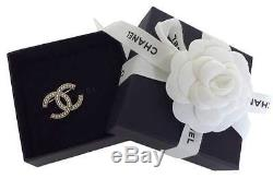 Chanel Classic CC Pearl Encrusted Gold Pin Brooch New