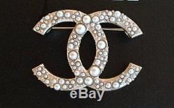 Chanel Classic CC Pearl Encrusted Gold Pin Brooch New with Tag