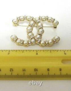 Chanel Classic Large, Pearl, Crystal CC Logo Gold Tone Brooch/Pin