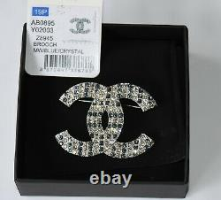 Chanel Clear & Blue Crystal Brooch Pin New in Box NEW FOR 2019