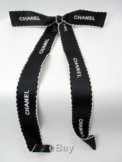 Chanel Embroidered Black & White Satin Ribbon Pin Brooch Bow Tie withTag