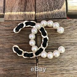 Chanel Fashion Brooch Pin- Silver Pearls Leather
