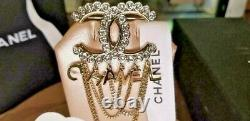 Chanel Gold Crystal Dangle Letters CC Logo Brooch