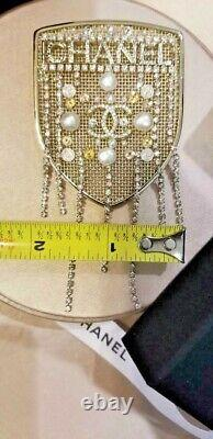 Chanel Gold Crystal Pearl CC Large Shield Brooch Pin
