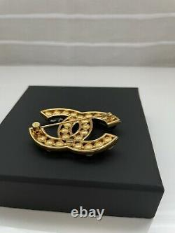Chanel Gold Plate CC Logo Pearl/Black Beads Box 100% Authentic Guaranteed