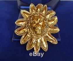 Chanel Gold Tone Lion's Head Vintage Pin/Brooch