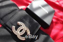 Chanel Gold Tone Pearl Logo Pin Brooch, Authentic