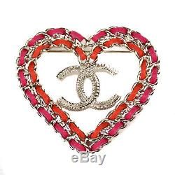 Chanel Heart Brooch Pin New 2018 CC Logo Pink Red Gold 18P