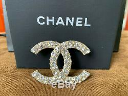 Chanel Large Classic CC Logo Crystal Brooch Pin