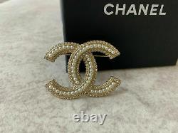 Chanel Large Classic CC Logo Crystal Pearl Brooch Pin