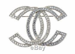 Chanel Large Crystal And Matte Gold Tone CC Cut-out Brooch Pin