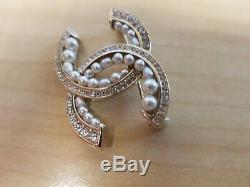 Chanel Light Gold Brooch/pin With Faux Pearls And Diamonties New Authentic