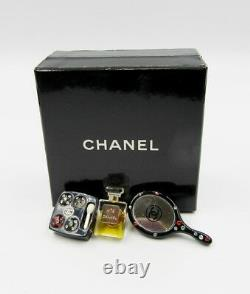 Chanel Limited Edition Set of 3 Pins Mirror Perfume Bottle Eye Shadow Resin