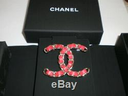 Chanel Logo leather red brooch pin