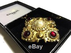 Chanel Made In France Pin/Brooch With Rubi Rhinestones