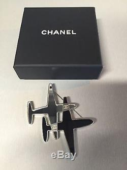 Chanel Mirror CC Airplane Brooch Black Silver'16 Runway Airline Collection