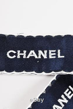 Chanel Navy White Satin Embroidered Oversized Bow Tie Ribbon Brooch Pin