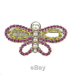 Chanel New 2018 Butterfly Brooch Pin Pearl Pink Yellow CC Logo
